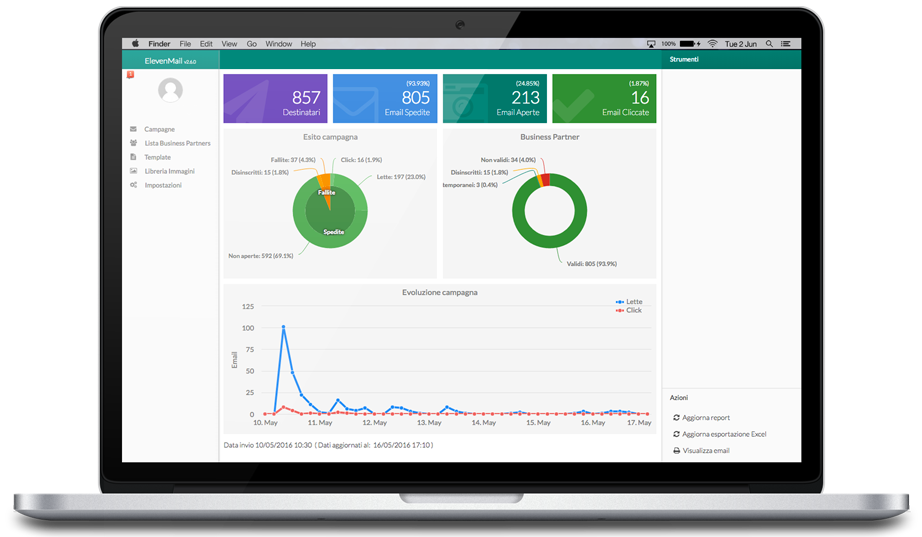 macbook pro contenente la dashboard di klio